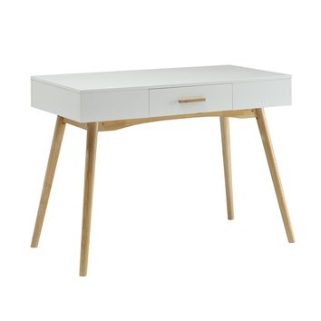 Modern White Writing Desk with wood legs