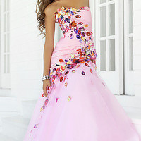 Prom Dresses, Celebrity Dresses, Sexy Evening Gowns at PromGirl: Strapless Pink Multi Formal Dress