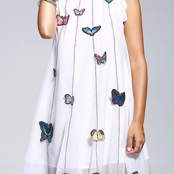 A Line Sleeveless Butterfly Mini Embroidery Dress