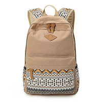 Women's Khaki Polka Dots Backpack for College Bookbag for Teen Girls School Bag