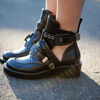 Indie Designs Balenciaga Inspired Leather Motorcycle Cutout Boots