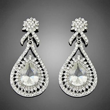 Hollywood Style Large Drop Rhinestone Silver Wedding Earrings, Crystal Bridal Jewelry
