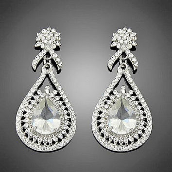 Hollywood Style Large Drop Rhinestone Silver Wedding Earrings C