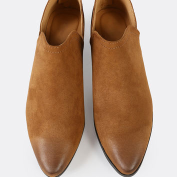 Faux Suede Split Shaft Bootie MAPLE | MakeMeChic.COM