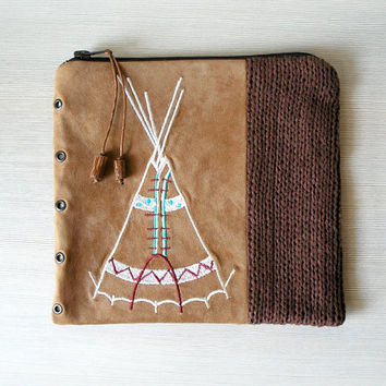 Tribal Tent Embroidered Clutch Purse, Faux Suede - Denim - Knitting, earthy brown shades