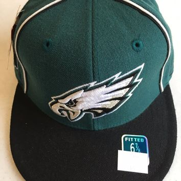 RETRO REEBOK PHILADELPHIA EAGLES GREEN WITH STRIPES AND BLACK BRIM FITTED HAT