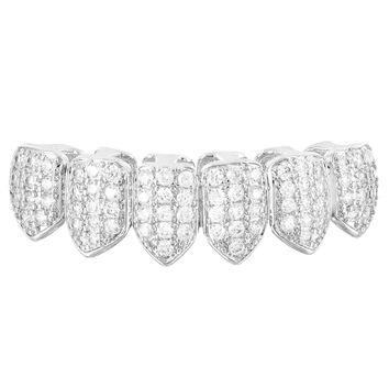 Silver Tone Micro Pave Lab Diamonds Bottom Teeth Grillz