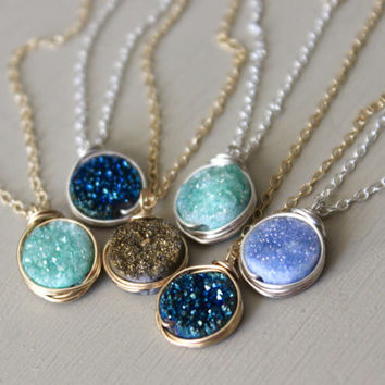 Druzy Pendant Necklace, Druzy necklace, Pendant necklace