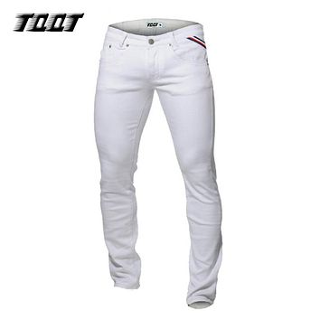 TQQT stretch material jeans casual straight jeans 5 pockets slim jeans straight pants mid weight colored jeans 5P0601