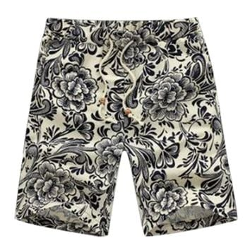 New Hot Summer Men Short Pants Casual Shorts Trousers Slim Fit Cotton Vintage Flower Print Men's Beach Shorts