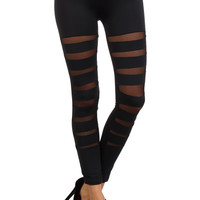 Front Slash Mesh Insert Leggings