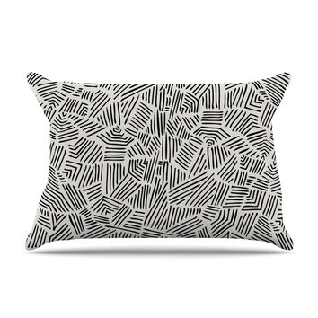 "Pom Graphic Design ""Inca Lines"" Black Illustration Pillow Case"