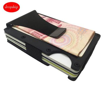 MUQGEW  Men Fashion RFID Blocking Metal Wallet The Minimalist Lifestyle Luxury
