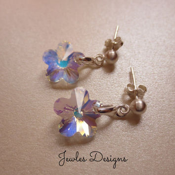 Flower Girl Earrings AB Swarovski Flower Crystal and Sterling Silver Stud Earrings for Flower girls, communion, gifts and birthday gifts