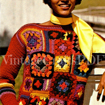 1970s Patchwork Pullover-Vintage Crochet Pattern-Granny Square Sweater-Hippie-Retro Quilt Sweater-Yarn Accessories-Boho Bohemian pdf file