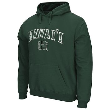 Men's Green Hawaii Warriors Arch & Logo Tackle Twill Pullover Hoodie