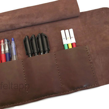 Distressed Leather Pen Case, Leather Pencil Case, Paint Brush Case, Make Up Organizer,Tool Case, Travel Case, Brown, Hand Stitched