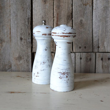 Distressed White Wooden Salt and Pepper Shakers