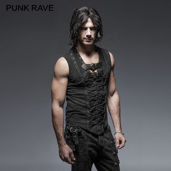 PUNK RAVE Black Punk Rock Cotton Leather Belt Sleeveless Man Tank Tops Steampunk  Casual Vest Goth Tanks Tops Body Casual