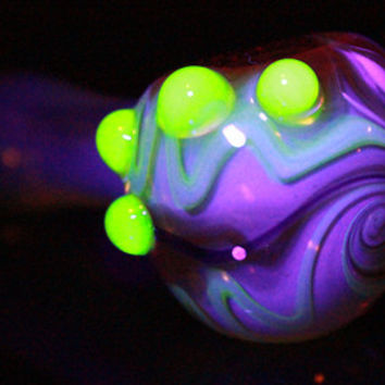 UV Glow Silver Fumed Cobalt Glass Pipe, Heady Hand Blown with Slyme Color Changing