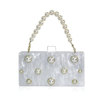 Pearl Embellished White Acrylic Clutch with Pearl Top Handle