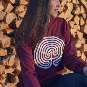 Maroon Long Sleeve Tee with White Vinyl Labyrinth Design