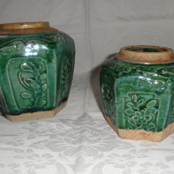 Antique 1900s Chinese Ginger Jars/Turquoise Green/Six Sided/Large Jar N Small Jar/ Hand Made Earthenware with Uneven Drip Glazes/Old Pottery