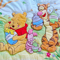 Winnie the Pooh Sweet Bees Vintage Disney Baby Toddler Crib Bedding Comforter Quilt Blanket