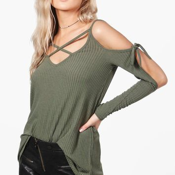 Jasmine Strappy Cold Shoulder Rib Knit Jumper | Boohoo
