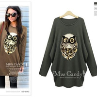 2015 Women Plus Size XL-5XL Fashion Slim Beading Owl Cartoon Pattern Sweater Batwing Sleeve Tops Pullover Coat Loose Outwear T59404 = 1946436356