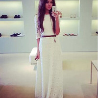 Women's Fashion Half-sleeve Lace White Prom Dress Ball Gown One Piece Dress [6338849665]