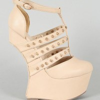 Privileged Rush Heel Less Studded Skull Strappy Platform Curved Wedge