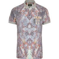 River Island MensGrey Holloway Road sublimation polo shirt