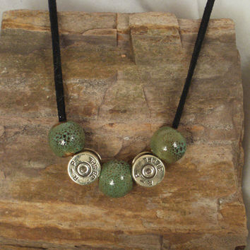 Bullet Necklace Green Ceramic Beads 38 SPL by ShellsNStuff