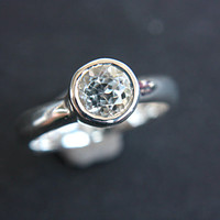White Topaz Ring White Topaz Engagement Ring Topaz Ring Sterling Silver Size 5,5 Promise Ring April Birthstone