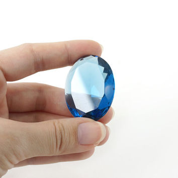 Oval Faceted Clear Blue Obsidian Stone Cabochon in High Transparency, 30x40mm, Jewelry Gemstone Supply