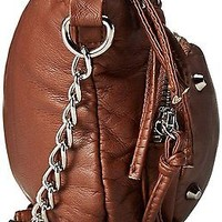 Wild Pair Womens Brown Sling Crossbody Shoulder Handbag Faux Leather Purse Bag
