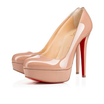 Christian Louboutin Cl Bianca Nude Patent Leather Platforms 1100024pk20 -