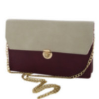 Burgundy & Cream Standout Two Tone Envelope Clutch with Strap
