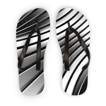 Black and White Metal  Flip Flops