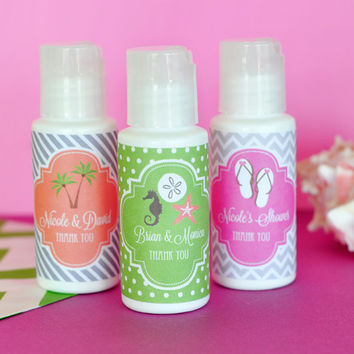 Personalized Wedding Theme Sunscreen - 24 Piece - Beach Wedding Favors - Custom Wedding Favors - Destination Wedding - Gift Ideas - Bridal
