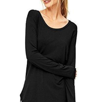 Emma's Closet Women's Basic Solid Colored Long Sleeve Round-Neck Top