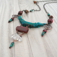Silk Road Necklace, Adjustable, Dark Red and Peacock Green Silk Wrapped Copper Necklace with Quartz Point