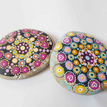 Hand painted stone, Dot Mandala painting, Stone Pebble Mandala Art, Office Yoga Boho gift, Miniature art, Meditation art, Boho home decor