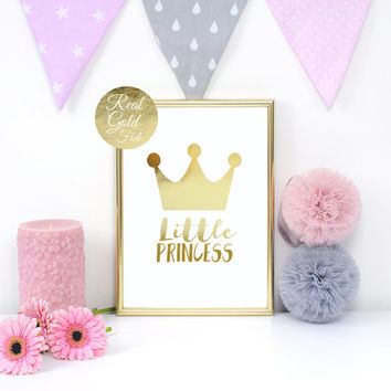 Little Princess, Nursery Print, Real Gold Foil Print, Gold Crown Print, Baby Print Poster, Nursery Wall Decor, Kids Room Decor,Gold Princess
