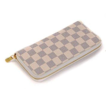 LV Louis Vuitton 2018 Trendy Women's High Quality Leather Zipper Wallet F White+Tartan