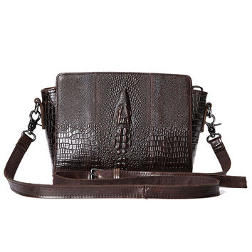 Crocodile Pattern Women Luxury Vintage Leather Shoulder Crossbody Bag Simple Trendy Casual Pouch for Daily Shopping Travel