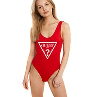 GUESS women's simple solid color inverted triangle LOGO sexy one-piece swimsuit red