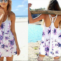 Purple & White Racerback Flower Print Dress