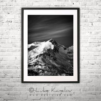 Snow peak landscape photography print, black and white - Deer Wise